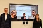 Online-Auszeichnung: In einer Videokonferenz gratulierten IHK-Präsident Wolf D. Meier-Scheuven (l.) und IHK-Hauptgeschäftsführerin Petra Pigerl-Radtke (r.) dem besten Azubi 2020 im Ausbildungsberuf E-Commerce-Kaufleute Phil Beckord (m.) und seiner Ausbilderin und Geschäftsführerin Teresa Winkler sowie Geschäftsführer Klaus Winkler von der winklerswurst GmbH & Co. KG. Foto: IHK