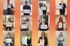 """Mit einem Selfie und einem persönlichen Statement machen die Teilnehmenden deutlich, was sonst im Tanz zum Ausdruck gebracht wird: """"Gewalt gegen Frauen? Nicht mit uns!""""Bild: © Stadt Paderborn"""