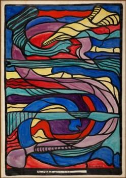 Glasfensterentwurf no. 25, 1919 Tusche und Aquarell auf Papier Foto: Kunstmuseum Den Haag