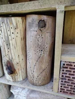 Insektenschutz kreativ ausgelebt: FÖJler gestalten Nisthilfe für Insekten aus Totholz.Foto:Kreis Herford