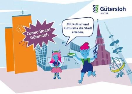 Ein Comic-Bild mit verschiedenen Gütersloher Gebäuden und den Figuren Kulturi und Kulturella.