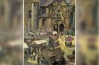 Libori am Dom zu Paderborn von Josef Dominicus. Kunstkarte aus Kaufhaus Klingenthal – Kalender 1959. Repro: Stadt- und Kreisarchiv Paderborn.Foto:© Repro: Stadt- und Kreisarchiv Paderborn