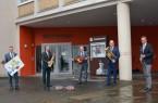 Dank der Förderung des Bundes kann der Kultursommer im Kreis Paderborn stattfinden – v.l.: Burckhard Schwuchow (Bürgermeister Büren), Michael Dreier (Bürgermeister Paderborn), Landrat Christoph Rüther, Werner Peitz (Bürgermeister Delbrück) und Ulrich Berger (Bürgermeister Salzkotten).