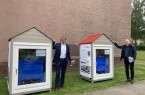 v.l.n.r.: Bürgermeister Michael Jäcke und Thorsten Meinsen (Property Manager bei Foncia Bautra GmbH) geben den Startschuss für die Eisblockwette in Minden (Bildnachweis: Stadt Minden).