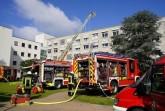 Gemeinsame Brandschutzübung von Feuerwehr, Malteser Hilfsdienst und Deutschem Roten Kreuz am Klinikum Gütersloh