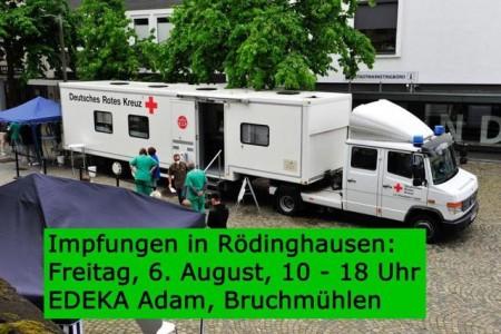 Das DRK-Impfmobil ist bereits im Kreis Herford unterwegs. So wie hier in Bünde, können sich alle ab 18 Jahren am Freitag, 6. August, auf dem Parkplatz bei EDEKA Adam in Bruchmühlen impfen lassen.