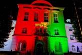 75 Jahre NRW - das Rathaus wird eine Woche in den Landesfarben angeleuchtetFoto: Stadt Herford