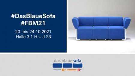 Zur Frankfurter Buchmesse kehrt das Blaue Sofa live in Halle 3.1 zurück.Foto:Bertelsmann