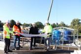Gutes Team: (v.l.) Karl-Heinz Schröder (Betriebsleiter Putzhagen) Rainer Klink und Daniel Schneider (Hydro Ingenieure) sowie Frank Schlösser(Atemis) sorgen für einen reibungslosen Bauablauf.Foto:Stadt Gütersloh.