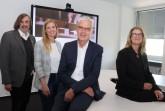 """Bürgermeister mit """"Start-Team"""" der neuen Stadt-Tochter conceptGT: Norbert Morkes, Lina Wiegmann-Cardinal, Albrecht Pförtner und Christiane Beckhoff. Foto:Stadt Gütersloh."""